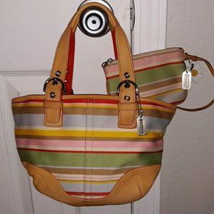 COACH Stripped Bucket Bag W/Coin Bag